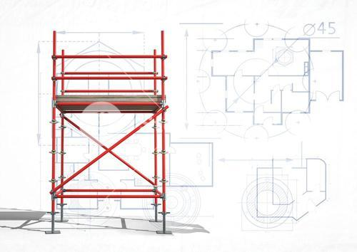 3D red scaffolding with white and blueprint background