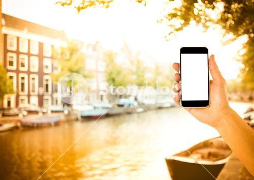 hand with phone in amsterdam