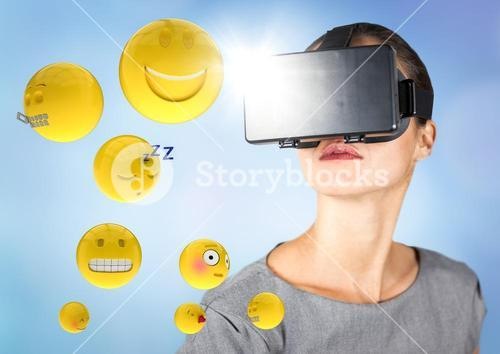 Woman in VR with emojis and flares against blue background