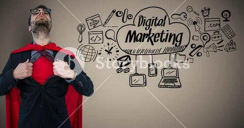 Business man superhero opening shirt against brown background with digital marketing doodles