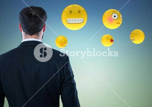Back of business man with emojis against blue green background
