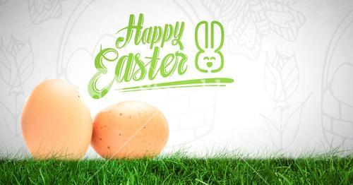 Happy Easter text with Eggs in front of pattern