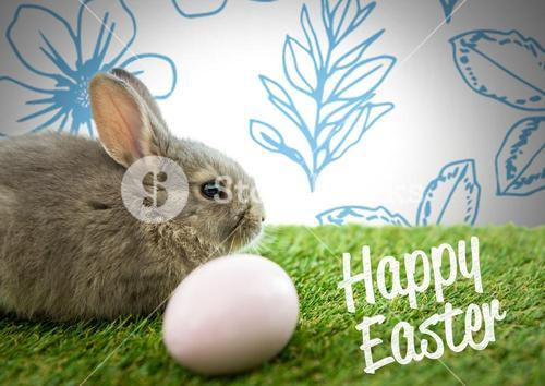 Happy Easter text with Easter rabbit with egg in front of pattern