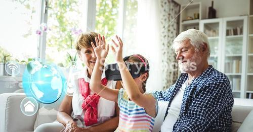 Child with grandparents wearing VR Virtual Reality Headset with Interface