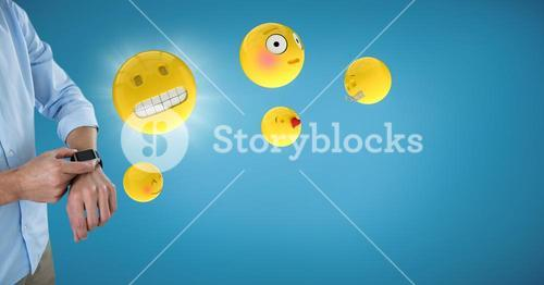 Business man mid section with watch and emojis with flare against blue backround