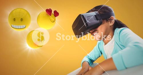 Girl in VR with emojis and flares against yellow background