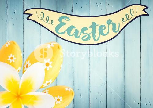 Easter banner with yellow flower and eggs against blue wood panel