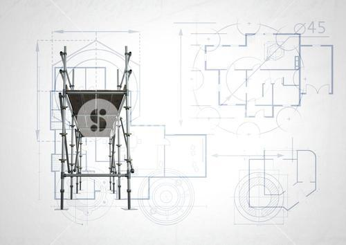 front of 3D scaffolding with white and blueprint background