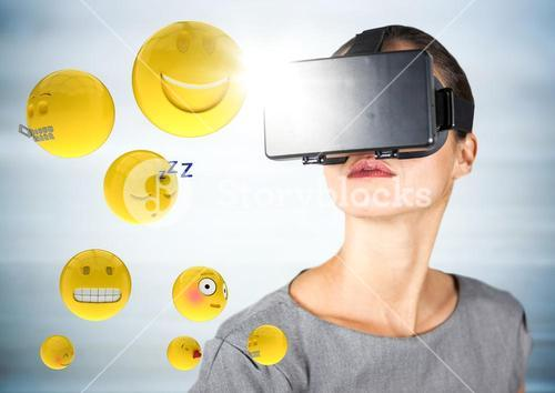 Woman in VR with emojis and flares against blurry grey wood panel