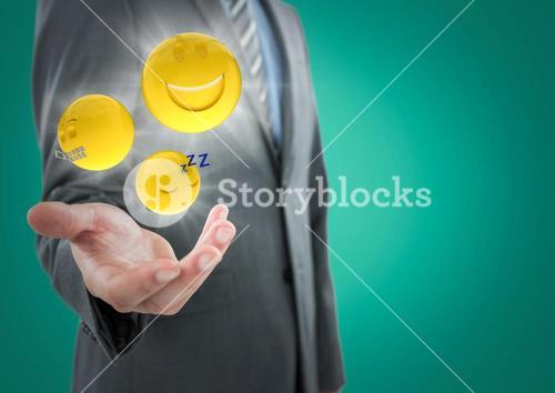 Business man mid section with hand out and emojis with flares against teal background