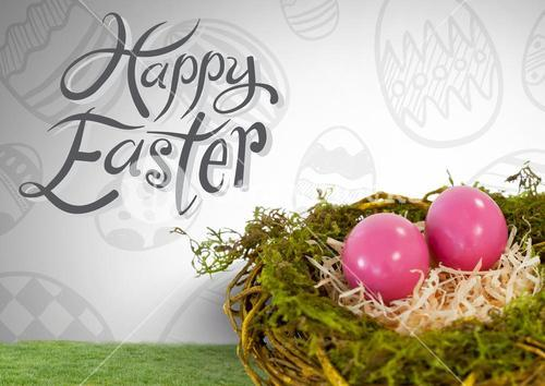 Happy Easter text with Easter eggs in nest in front of pattern
