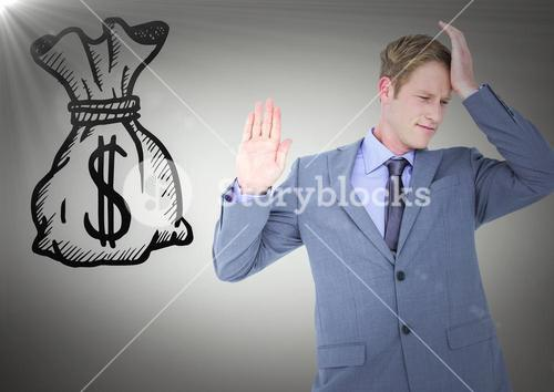 Business man refusing money doodle against grey background with flare
