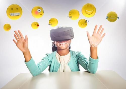 Kid in VR beneath emojis against white background