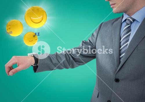 Business man with hand out and emojis with flares against teal background