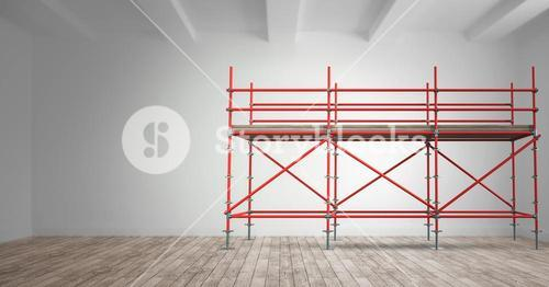 3D red scaffolding in a room