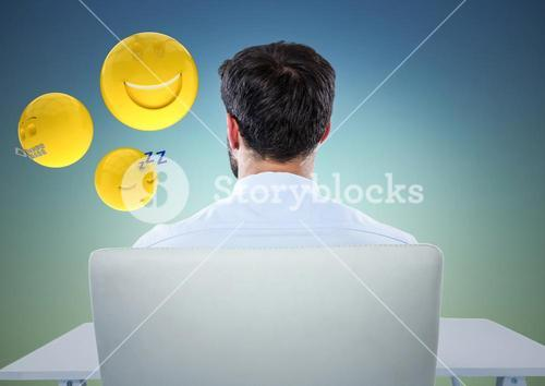Back of man sitting with emojis against blue green background