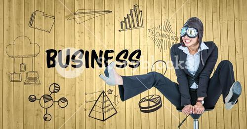 Business woman pilot on chair against yellow wood panel with business doodles