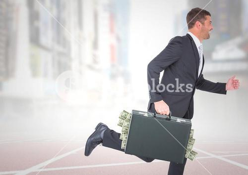 Business man on track with money sticking out of briefcase against blurry city with white overlay