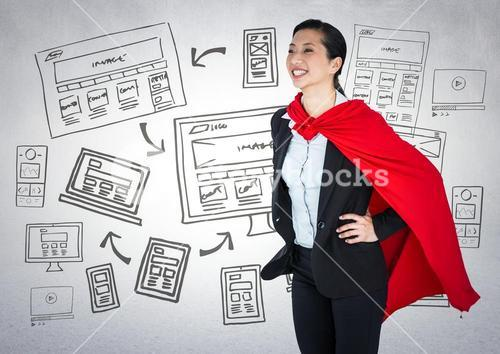 Business woman superhero with hands on hips against white wall with website doodles