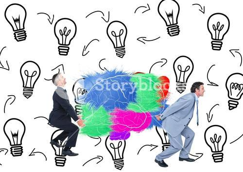 Two mans carrying the color brain with backgrouns of graphic about have an idea