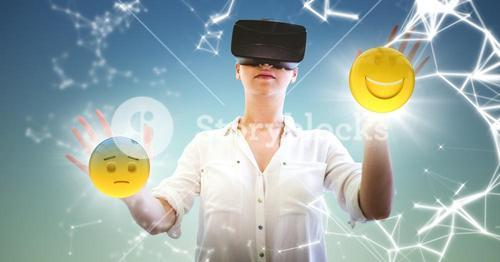 Woman in VR with network and emojis with flares against blue green background