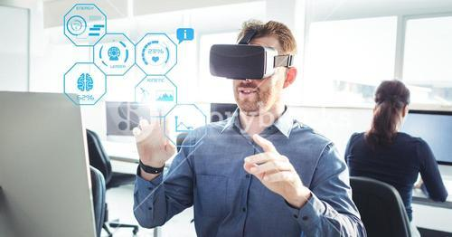Man wearing VR Fitness Health Virtual Reality Headset with Interface