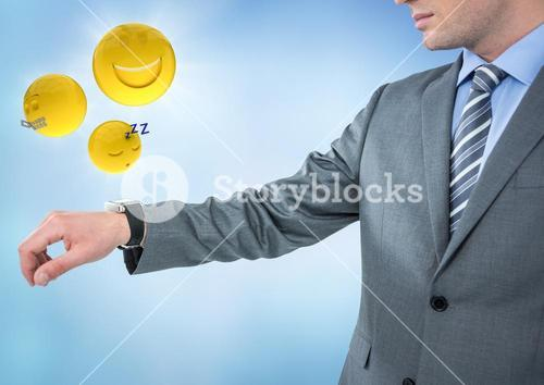 Business man with hand out and emojis with flares against blue background