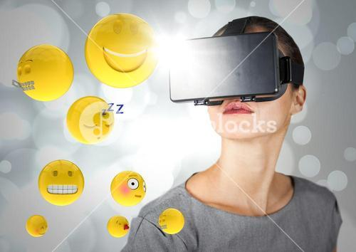 Woman in VR with emojis and flares against white bokeh