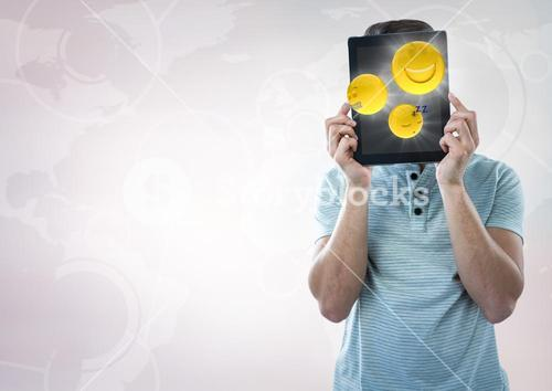 Man tablet over face showing emojis with flares against white interface