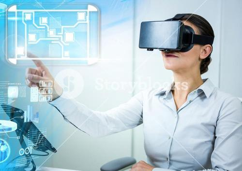 Woman wearing VR Virtual Reality Headset with Interface