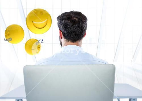 Back of man sitting with emojis against white window