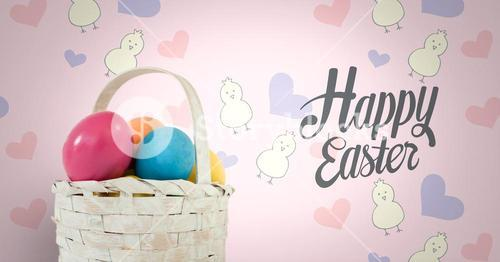 Happy Easter text with Easter eggs in basket in front of pattern