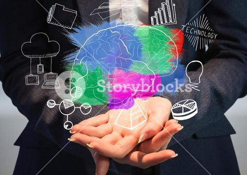 Color brain with graphic about  business in the hands of a business woman