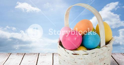 Easter eggs in front of blue sky