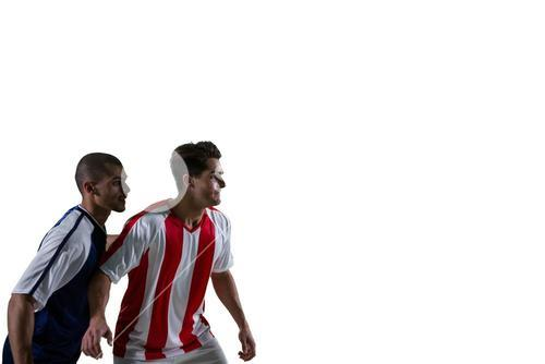 Two football players defending each other while playing soccer