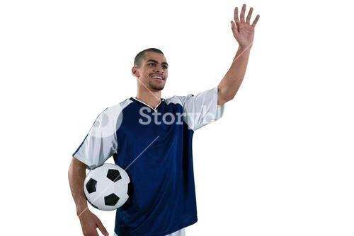 Football player waving his hand