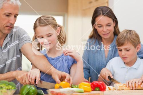 Lovely family cooking together