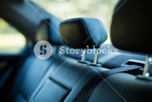 Close up back seats in car