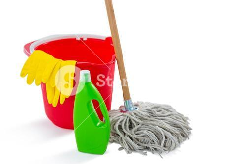 Close up of cleaning products and mop with bucket