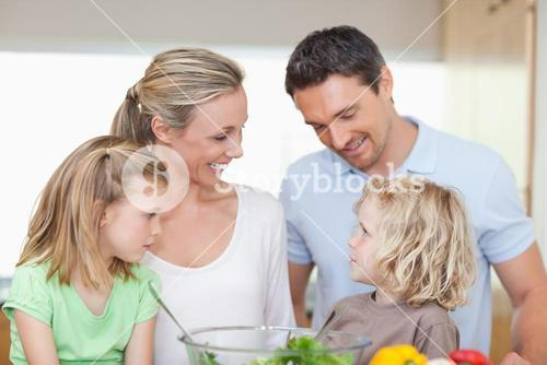 Happy family together in the kitchen
