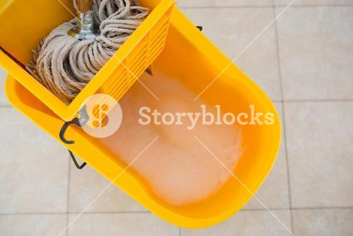 Overhead view of mop bucket