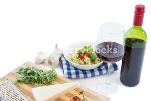 Close up of food and wine bottle