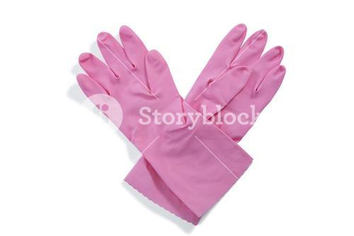 Overhead view of pink gloves