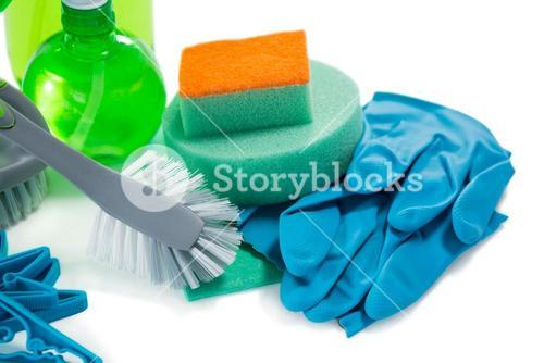 Close up of cleaning products