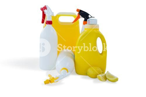 Cleaning liquid bottles with lemon