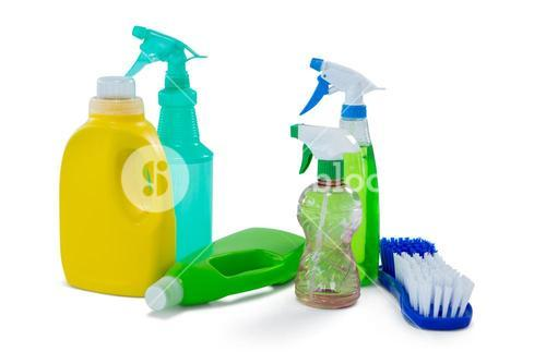 Cleaning liquid in spry bottles