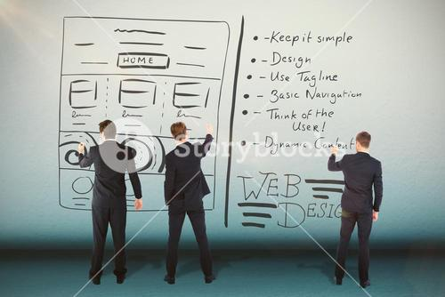 Composite image of business team writing against white background
