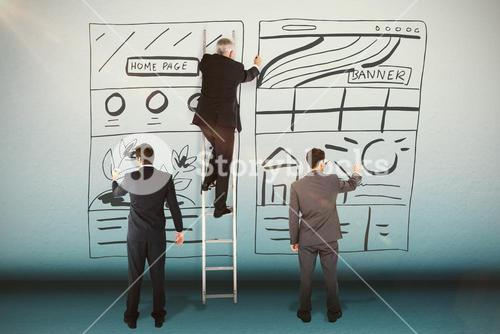 Composite image of business team writing