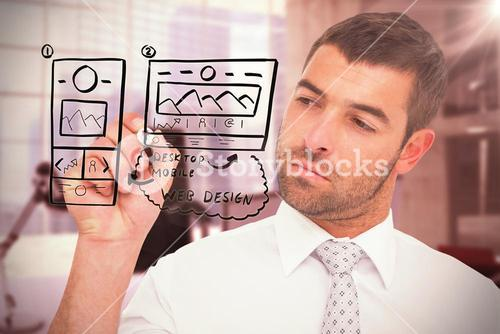 Composite image of concentrated businessman writing with marker