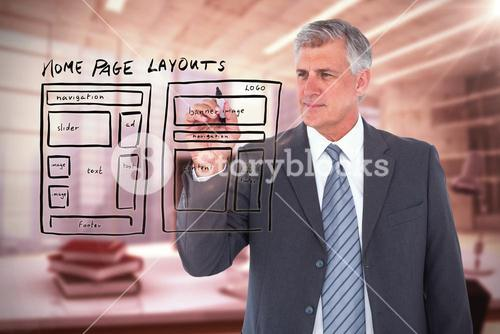 Composite image of businessman writing with black marker